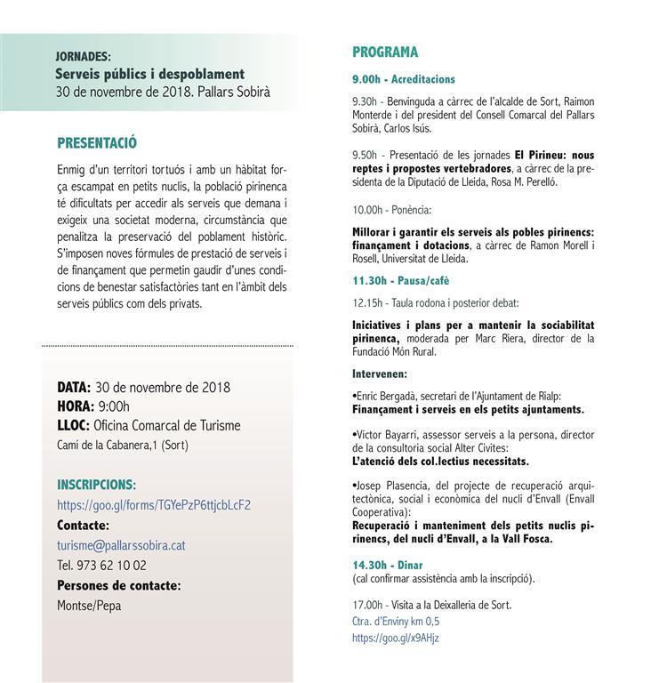 JORNADES El Pirineu: nous reptes i propostes vertebradores - Serveis públics i despoblament